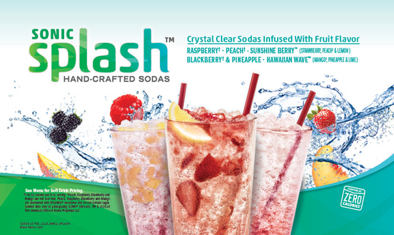 Sonic Splash Hand-Crafted Sodas. Crystal clear sodas infused with fruit flavors.